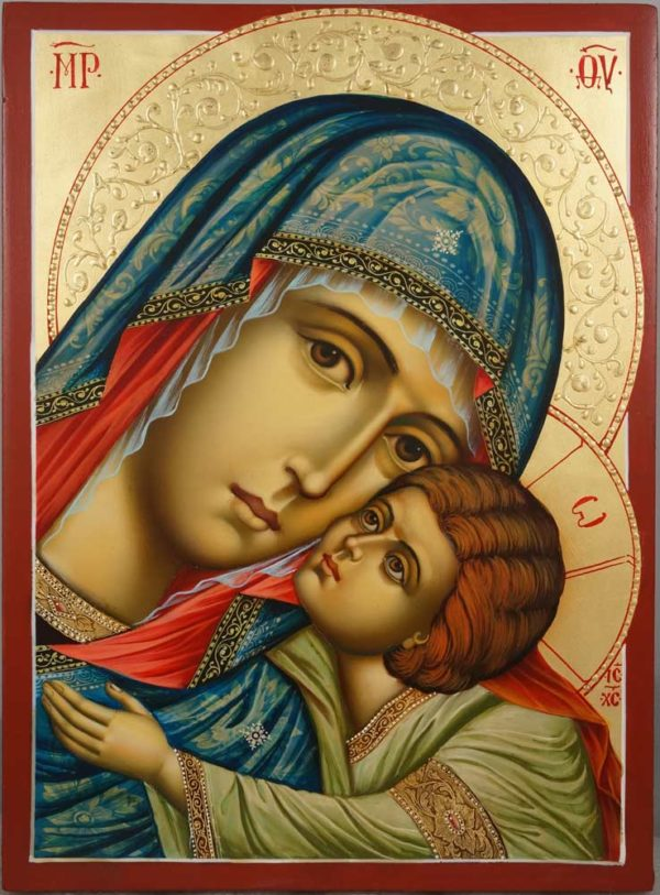Virgin of Tenderness decorated halo Hand Painted Orthodox Icon on Wood