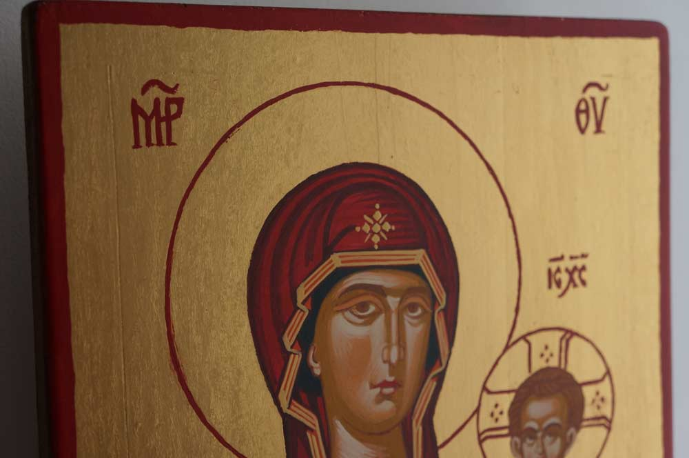 Hand-Painted Orthodox Icon of Theotokos the Guide