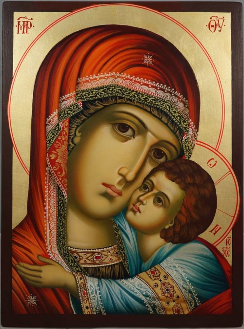 The Virgin of the Sweet Kiss Hand-Painted Byzantine Icon