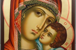 Virgin Mary Sweet Kiss Hand-Painted Byzantine Icon