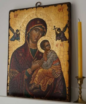 Virgin of Perpetual Succour (Cretan) Hand-Painted Byzantine Icon