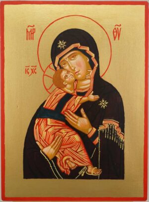 Vladimirskaya Mother of God Hand Painted Orthodox Icon on Wood