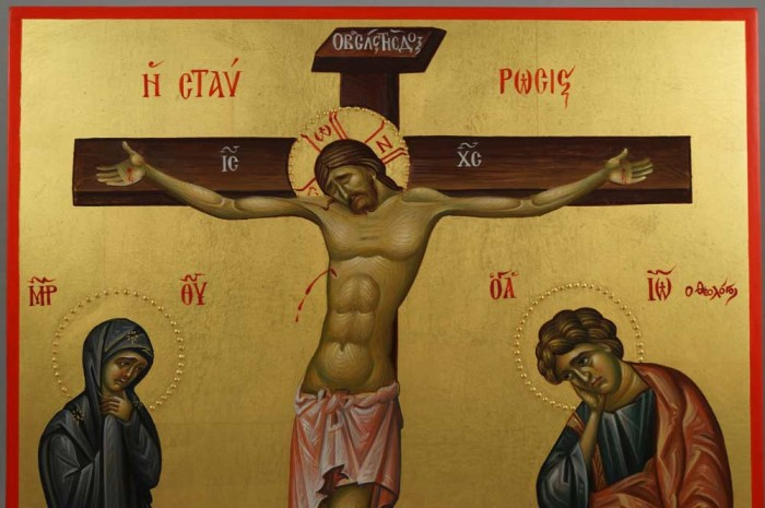 Crucifixion of Jesus Hand-Painted Byzantine Icon