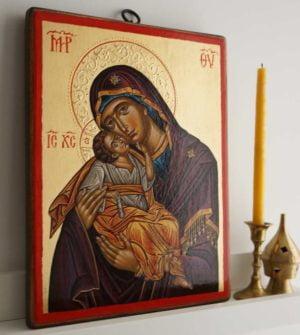 Panagia Glykophilousa Cretan Hand-Painted Byzantine Icon