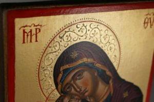 Theotokos Glykophilousa Cretan Hand-Painted Byzantine Icon