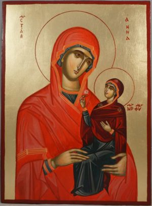 St Anna Holy Mother of Mary Hand-Painted Byzantine Icon
