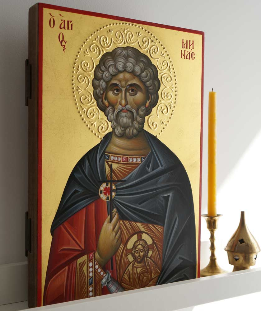 Saint Menas (halo relief) Hand-Painted Byzantine Icon