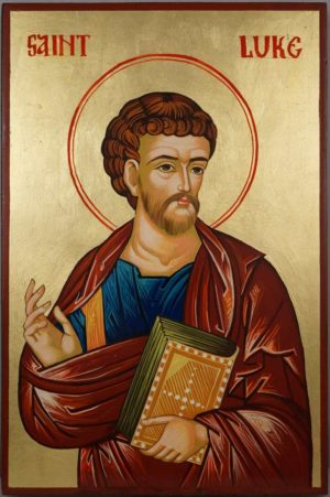 Hand-Painted Byzantine Icon of Apostle Luke the Evangelist