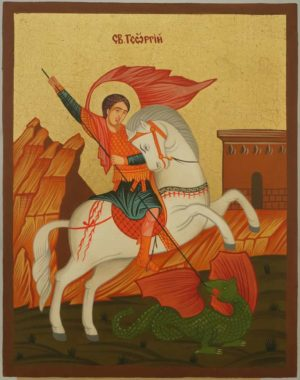St George on Horse Hand Painted Icon Byzantine Orthodox on Wood