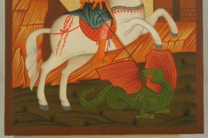 St George on Horse Hand Painted Icon Byzantine Orthodox on Wood