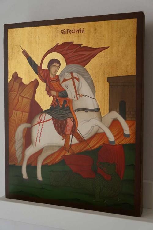 St George on Horse Hand Painted Orthodox Icon on Wood