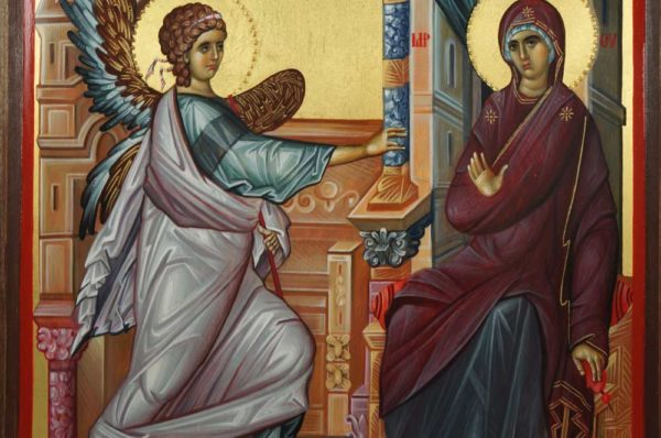 The Annunciation Hand-Painted Byzantine Icon on Carved Wood