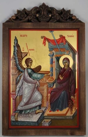 Annunciation (Ohrid) Hand-Painted Byzantine Icon Carved