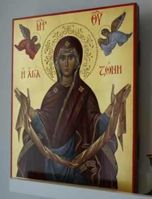 The Holy Belt (Zoni) of the Theotokos Hand-Painted Icon