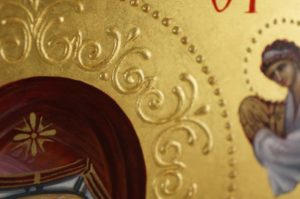 The Holy Belt of the Theotokos Hand-Painted Greek Icon Detail