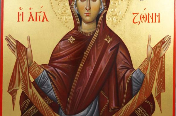 The Holy Belt of the Theotokos Hand-Painted Greek Icon