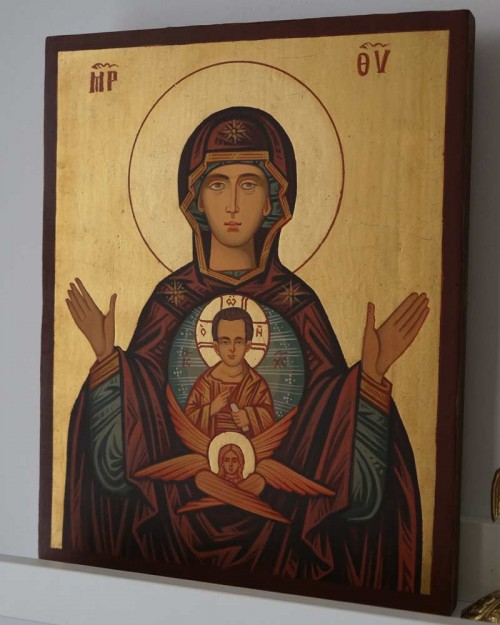 Theotokos of the Sign Hand Painted Orthodox Icon on Wood