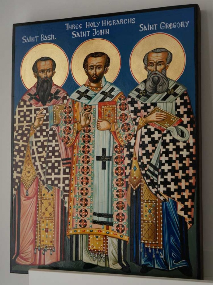 Three Holy Hierarchs Hand-Painted Byzantine Icon