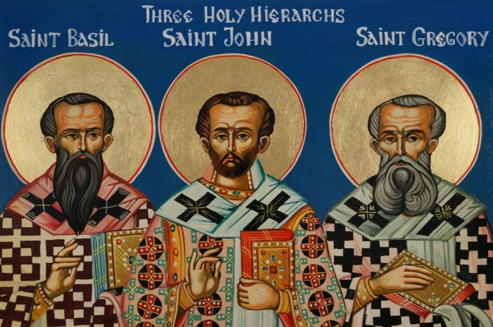 St Basil St John St Gregory Three Holy Hierarchs Hand-Painted Icon