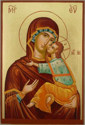 Virgin Mary Eleusa Large Hand Painted Byzantine Orthodox Icon on Wood