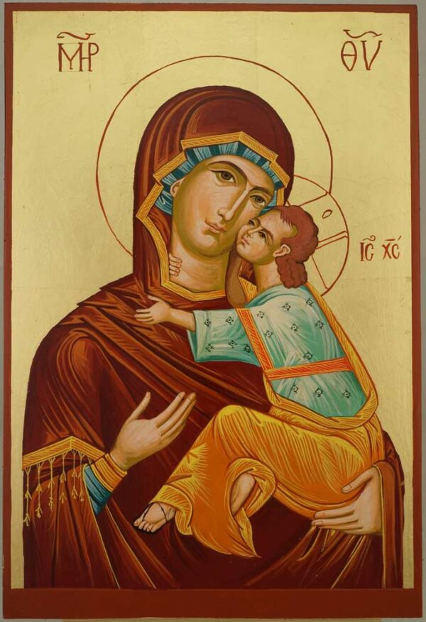 Virgin Mary Eleusa Large Hand Painted Byzantine Orthodox Icon on Wood