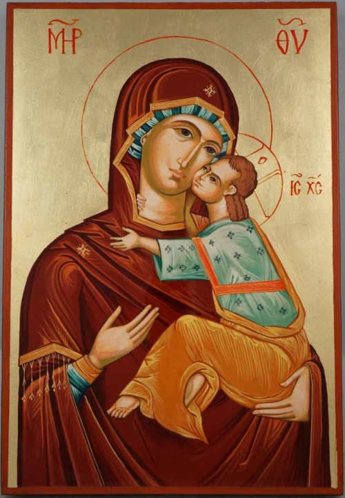 Virgin Mary Eleusa Large Hand Painted Orthodox Icon on Wood