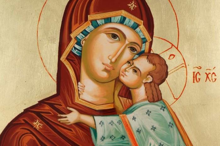 Virgin Mary Eleusa Large Hand Painted Orthodox Icon on Wood