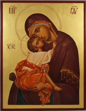 Mother of God Eleusa (Chora) Hand-Painted Byzantine Icon