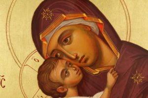 Theotokos Eleusa Chora Hand-Painted Byzantine Icon Detail