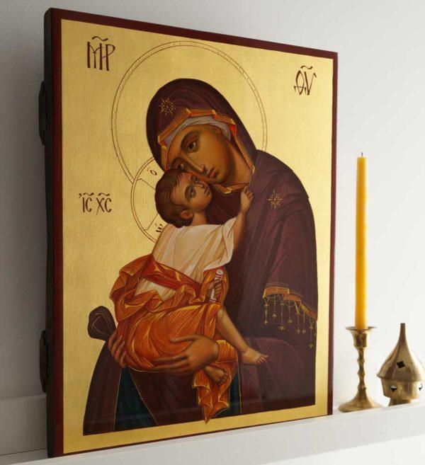 Mother of God Eleusa (Chora) Hand-Painted Byzantine Icon