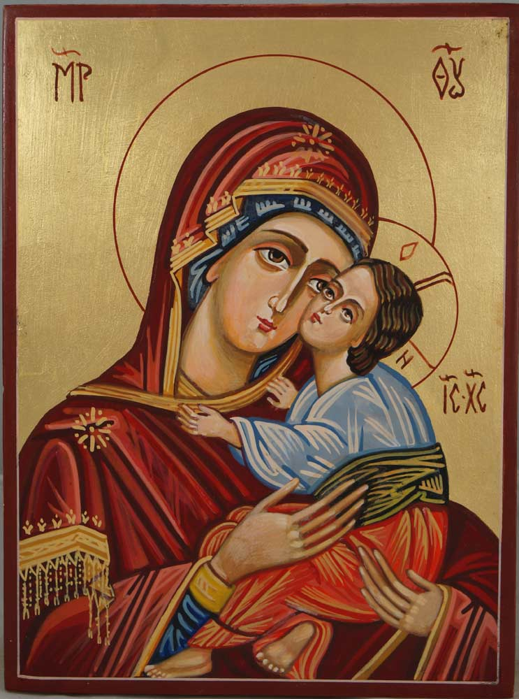 Virgin Mary Eleousa Hand-Painted Byzantine Icon