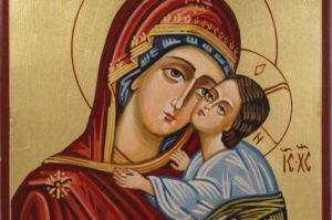 Virgin Mary Sweet Kissing Hand-Painted Icon on Wood