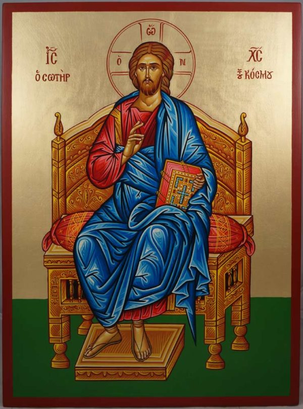 Christ Enthroned Hand-Painted Greek Orthodox Icon