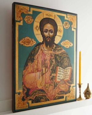 Jesus Christ Pantocrator 19th c. Hand-Painted Byzantine Icon