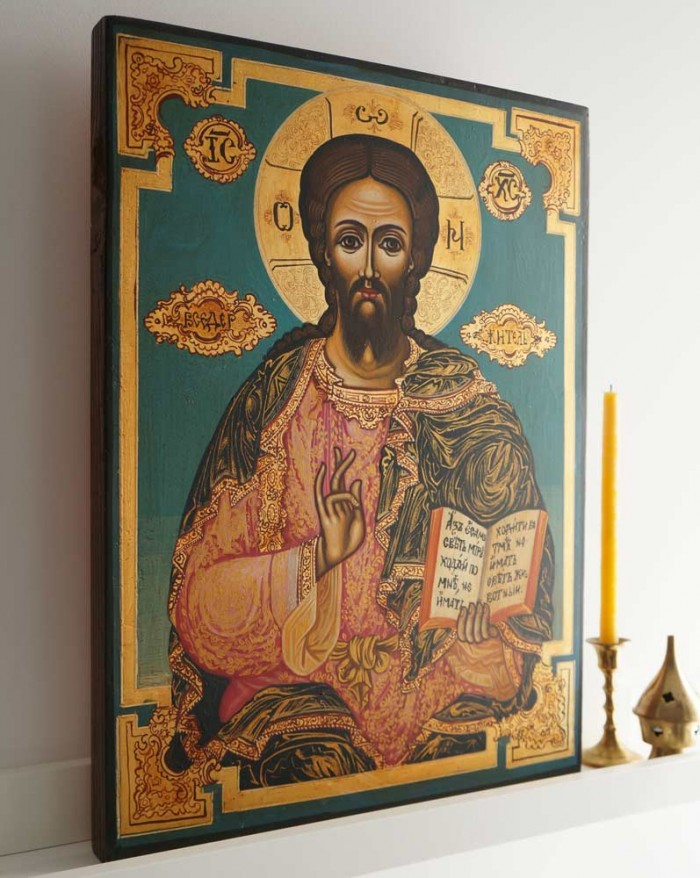 Jesus Christ Pantocrator 19th c. Hand-Painted Byzantine Icon