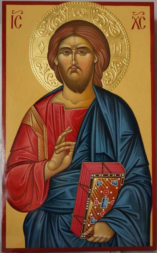 Theotokos Hodegetria Hand-Painted Byzantine Icon Halo Gold Relief