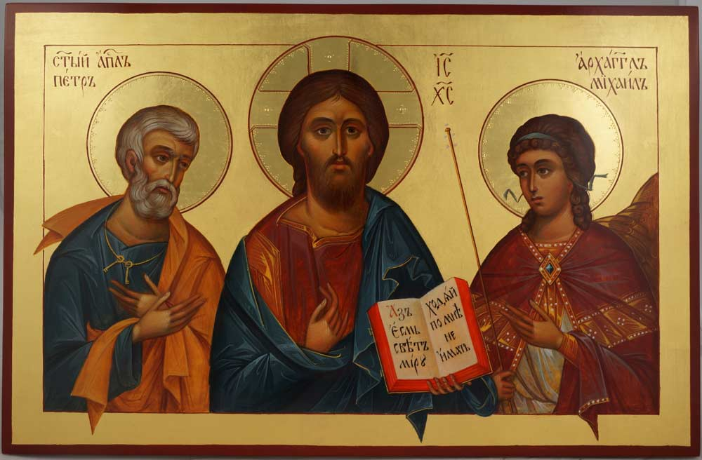 Pantocrator Deesis St Peter Archangel Michale Hand-Painted Byzantine Icon