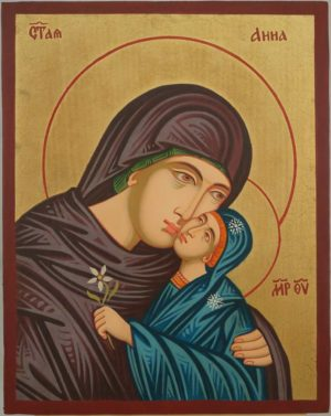 Saint Anna Anne Hand Painted Icon Byzantine Orthodox on Wood