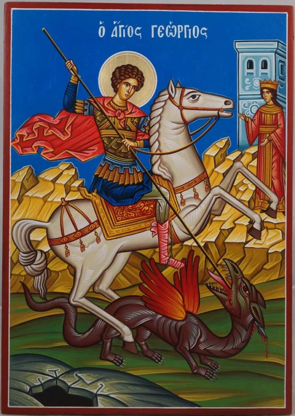 St George Slaying the Dragon Hand-Painted Greek Icon