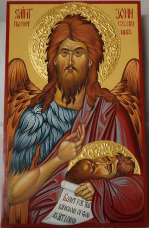 St Prophet John the Forerunner Hand-Painted Byzantine Icon Halo Gold Relief