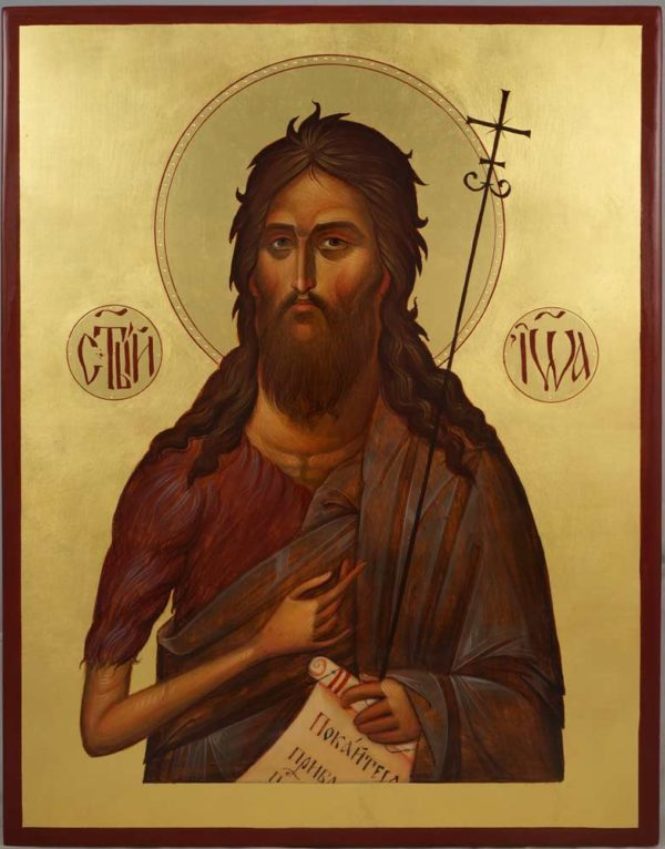 St John the Baptist Hand-Painted Byzantine Icon Engraved Halo Gold Leaf Background