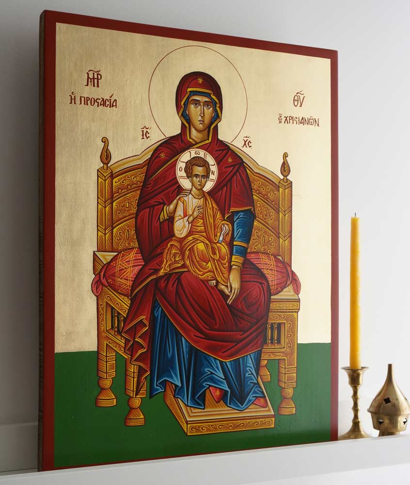 Theotokos Enthroned Hand-Painted Byzantine Icon on Wood