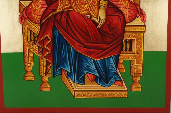 Virgin Mary Enthroned Hand-Painted Greek Byzantine Icon