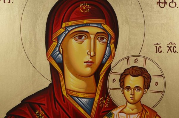 Virgin Mary Theotokos Portaitissa Hand-Painted Orthodox Icon