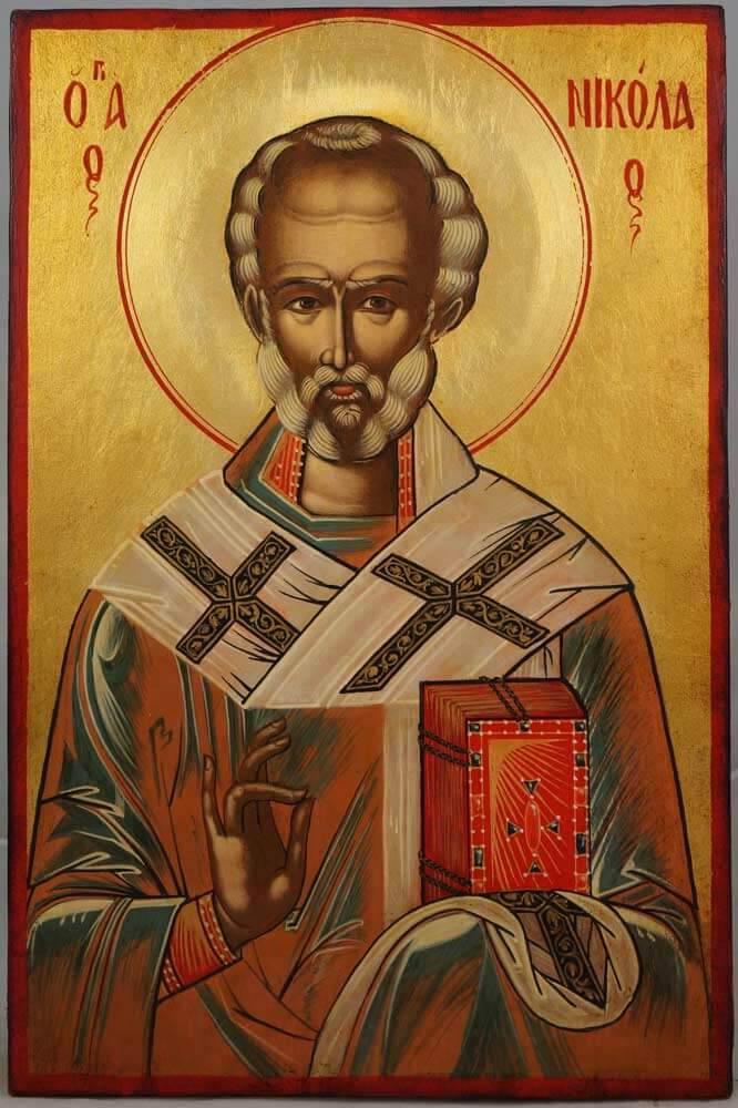 Saint Nicholas Hand-Painted Byzantine Icon