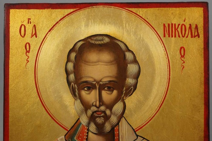 St Nicholas Hand-Painted Orthodox Icon on Wood