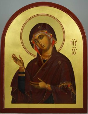 Deesis Icon of the Mother of God Hand-Painted Byzantine Icon