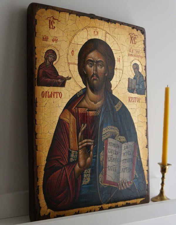 Pantocrator (Mount Athos) Hand-Painted Byzantine Icon