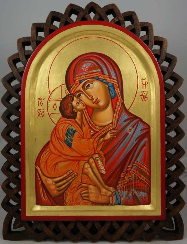The Virgin Eleousa (carved wood) Hand-Painted Byzantine Icon