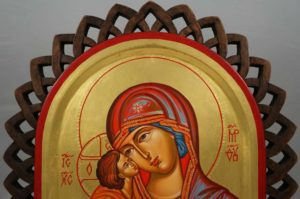 Theotokos Sweet Kissing Hand-Painted Byzantine Icon on Carved Wood